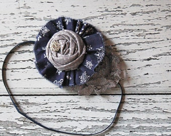 Night Flurry navy and silver ruffle and rosette headband