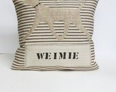 Weimaraner Felt Pillow Cover - Weimie pillow - Decorative Throw Pillow Cushion Cover - grey beige Weimaraner Felt Applique