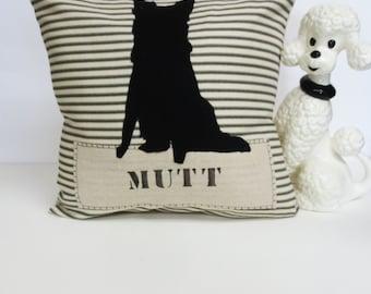 Mutt Dog Silhouette Pillow, Decorative Mutt Dog Silhouette Pillow, Dog Silhouette Pillow, Mix Dog Pillow, Black Ticking Stripe, Felt Dog