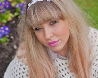 Daisy  Headband,  Hippie Boho Daisy Headband, Daisy Chain Headband, Crochet Hair Bands in Yellow or Pink