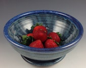 Berry Bowl - Colander - Fruit Bowl with Saucer- Handmade Pottery in our Denim Blue Glaze - In Stock, Ready to Ship