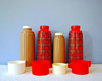 Vintage Aladdin Thermoses Bottles Red Plaid Coffee Thermoses Set Camping Picnic Lunch Soup Large Quart Insulated