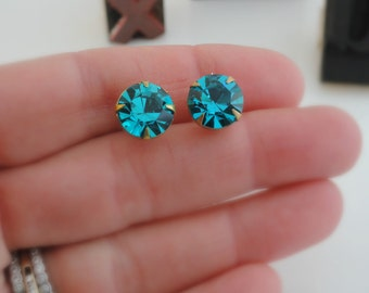 Vintage Earrings - Statement Earrings - Rhinestone Earrings - Stud Earrings - handmade jewelry