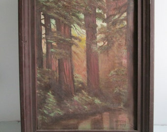 Oil Painting on Canvas. Vintage 1970.  Forest wooded scene. Signed and Framed.