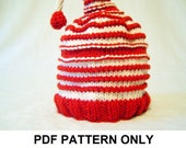 Knitting Pattern - Christmas Hat Pattern - the PATTI Hat (Newborn, Baby, Toddler, Child & Adult sizes incl'd)