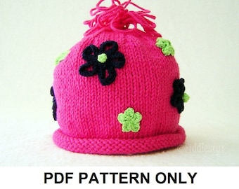 Knit Hat Knitting Pattern - Girls Hat Pattern - the MOLLY Hat (Newborn Baby Toddler Child & Adult sizes incl'd)