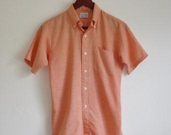 Vintage Shirt -- Mens Button Down -- Orange Sherbet Shirt Sleeve Shirt -- Medium
