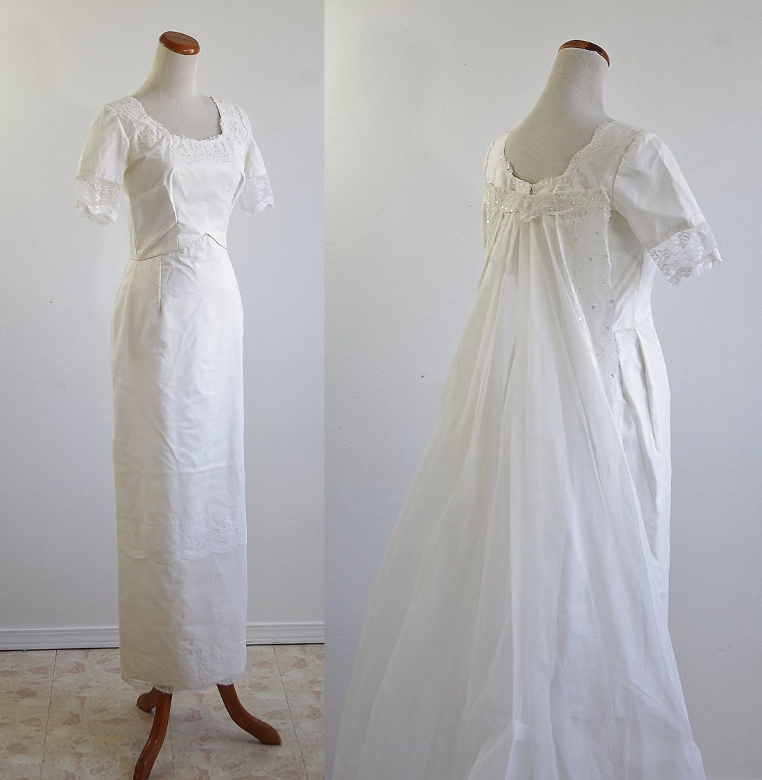 Vintage 60s Wedding Dress White Lace Wedding Dress by