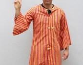 60s vintage striped Thai tunic, bell sleeves, orange / purple - Medium