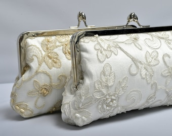 Beaded Beauty Kisslock-  Lace & Pearl Formal Clutch (Ivory, Gold or Silver Lace Bridal Purse)