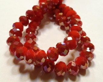 Holly Berries - Berry Red Luster - Faceted Czech Crystal Rondelle Beads - 7mm - 20 beads