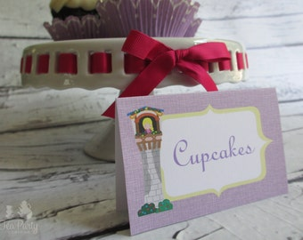 Rapunzel Princess Custom Tent Place Cards - Let Down Your Hair Collection