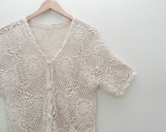 90s Cream Cut Out Floral Crochet Button Up Shirt Swim Suit Cover Up