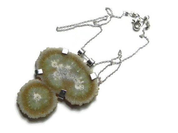 Agate stalactite pendant necklace, specimen statement necklace, agate stalactite necklace, rustic necklace, rustic jewelry