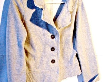 Vintage Light Gray 3 Button Cardigan Sweatshirt Collar and Turn-up Cuffs Junior Size Large