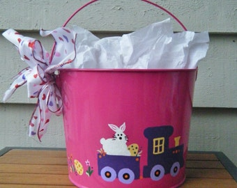 Personalized Painted Easter Bucket with Train and Bunny - Hand painted Easter Basket, Pink Pail - Rabbit in Choo Choo Train