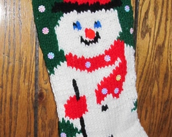 Hand-Knitted Personalized Snowman Christmas Stocking - Green Background