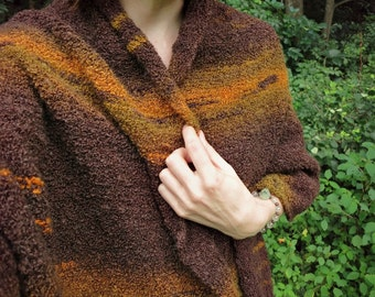 Hand Knit Shawl or wrap in brown, mustard yellow, and olive green bouclé, cozy western style scarf
