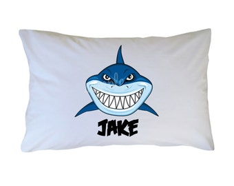 Personalized Shark Pillow Case Travel Toddler or Standard Size
