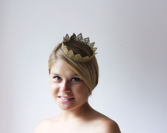 Gold Princess Royal Lace Crown -  queen, halloween costume, fairy tale