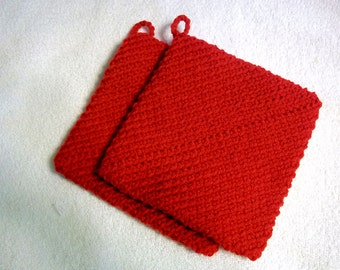 Crochet Pot Holders Double Thick Hot Pad Color- Red or Color of Your Choice Set of Two