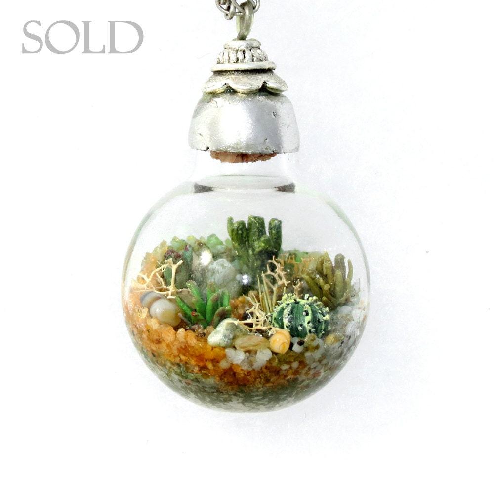 sold custom jewelry terrarium necklace handmade necklace