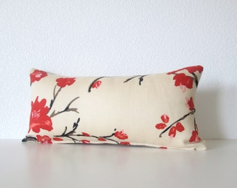 Pillow cover red brown cream cherry blossom lumbar pillow cover decorative pillow cover