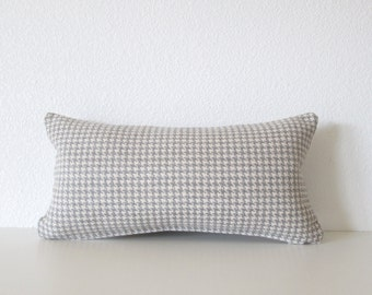 Mini Lumbar Pillow - 8x16 - Gray - Off White - Gray - Houndstooth - Cushion cover
