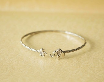 Elephant cuff bracelet with a penguin wrap style, animal bracelet, charm bracelet, bangle