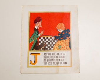 "Antique 1929 Letter ""J"" Monogram Mother Goose Book Page, Jack Sprat, 9.75""x11.75"""