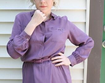 Vintage DVF Dress, 70s Diane von Furstenberg Lilac Silk Shirt Dress