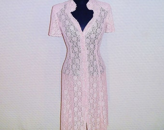 Vintage 1980's Pink Lace Dress with Keyhole Chest and Buttoning Neck by Dawn Joy Women's Small 2-4