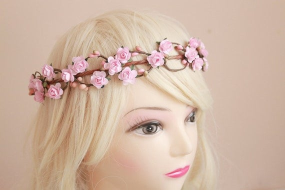 wedding flower crown / dainty pink rose floral hair wreath headband, halo, bridal, wedding, festival, party, summer, spring.