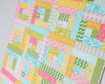 Sherbet Log Cabin Quilt - Toddler Bed Quilt - Baby Girl Crib Quilt - Pink, Yellow, Blue, Green