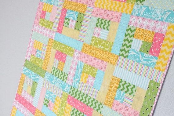 Sherbet Log Cabin Quilt Toddler Bed Quilt Baby Girl Crib : quilt for toddler bed - Adamdwight.com