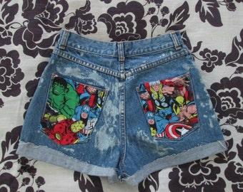 The Avengers Marvel Comic High Waisted Acid Wash Denim Jean Shorts
