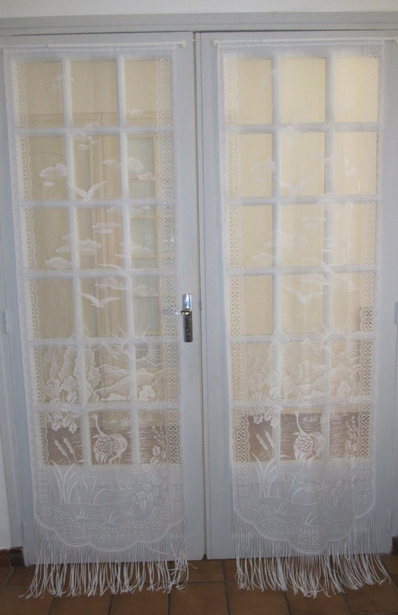 French Door Curtains, Stork Bird Curtains, French Lace Curtains