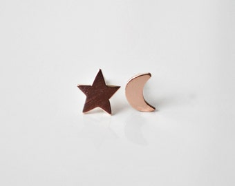 Night Sky Rose Gold Stud Earrings  - 14k Pink Gold