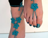Teal Barefoot Sandals, barefoot sandles, Soleless sandals, Foot Jewelry, Beach Wedding shoes, Bridesmaid accessory, Hawaiian, anklet