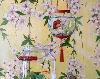 Chinoiserie Painting - Cherry Blossoms, Fishbowls and Ginger Jar