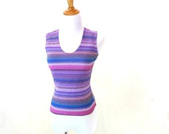 Vintage Purple Tank Top / 90s Striped Top / V Neck Tank Top / Sparkly Shirt S M