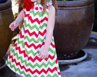 Girls Chevron Christmas Dress,  Size 2t