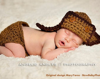 Aviator Flyer Hat and diaper cover Newborn Photo prop in NUTTY Photography Baby Set 2pc Infant Girl Boy Photo Shoot Available COLORS
