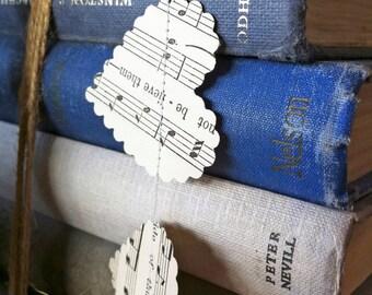 wedding decorations, MUSIC heart garland, Wedding garland handmade from vintage sheet music