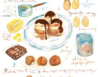 Profiteroles recipe poster print, Kitchen wall art, Food print, Bakery decor, Home decor, Watercolor cake painting, Gourmet chocolate cake