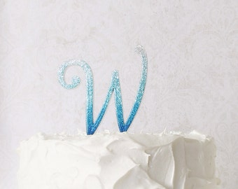 "monogram cake topper, wedding cake topper, 4"" glitter cake topper, turquoise wedding, aqua wedding, initial cake topper, choose your color"