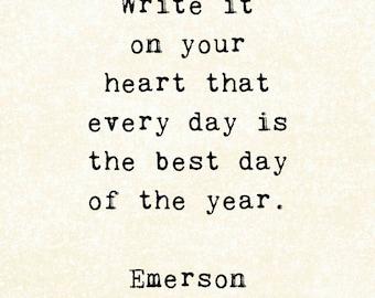 Life Quote, Inspirational art print, typewriter typography, Emerson, thankful