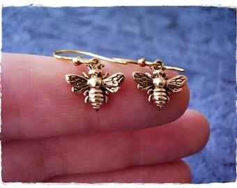 Tiny Gold Honeybee Earrings - Solid Bronze Honeybee Dangle Earrings