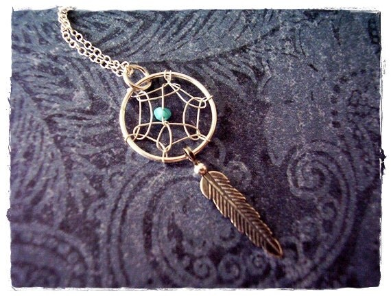 Turquoise Dreamcatcher Necklace - Sterling Silver Dreamcatcher Charm on a Delicate Sterling Silver Cable Chain or Charm Only