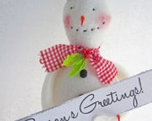 Darling Handmade Snowman with Red Check Scarf